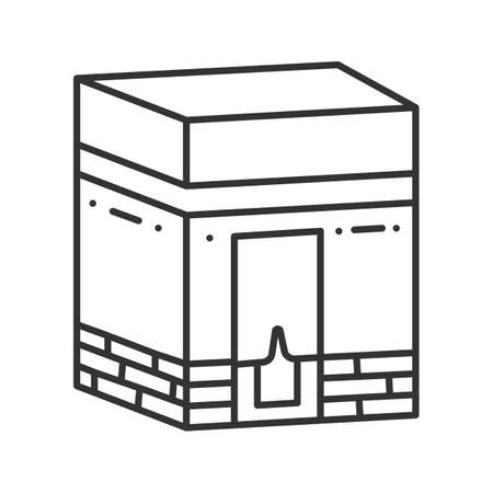 Kaaba linear icon. Hajj. Muslim shrine. Islamic culture. Thin line illustration. Contour symbol. Vector isolated outline drawing  イラスト・ベクター素材
