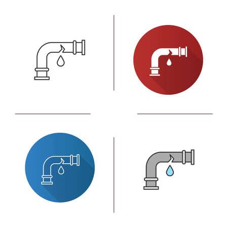 Broken water pipe icon. Flat design, linear and color styles. Isolated vector illustrations