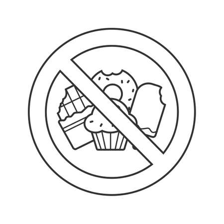 Forbidden sign with confectionery linear icon. Thin line illustration. No sweets prohibition. Stop contour symbol. Vector isolated outline drawing Ilustração