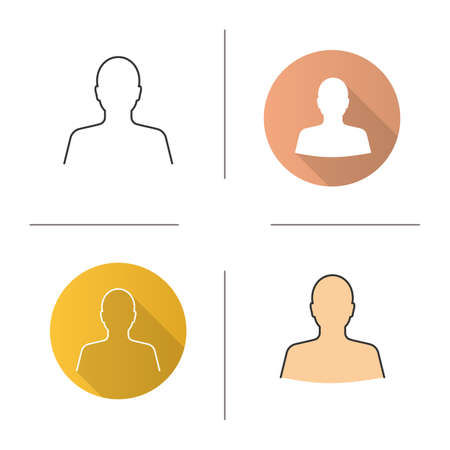 Man's silhouette icon. Flat design, linear and color styles. Profile. Isolated vector illustrations