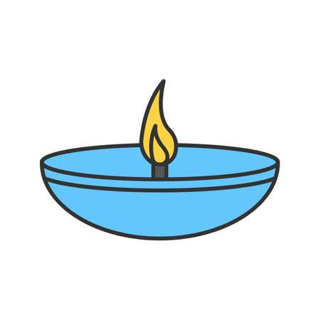 Islamic oil lamp color icon. Diya. Islamic culture. Burning bowl oil lamp. Isolated vector illustration