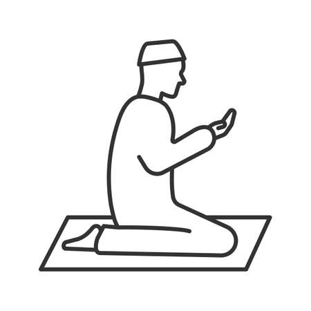 Praying muslim man linear icon. Thin line illustration. Worship. Islamic culture. Contour symbol. Asking to Allah. Vector isolated outline drawing Illustration