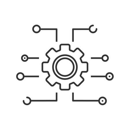 Device settings linear icon. Cogwheel, gear. Cyberspace. Thin line illustration. Computing. Contour symbol. Vector isolated outline drawing Illustration
