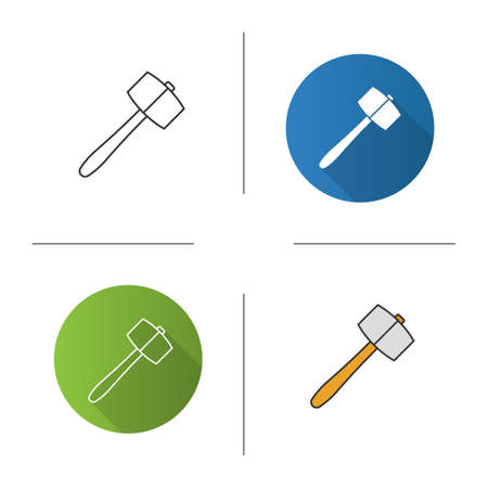 Lump hammer icon. Flat design, linear and color styles. Maul. Isolated vector illustrations