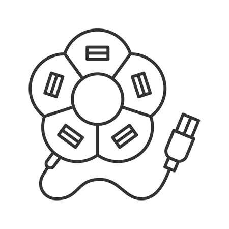 Flower shape USB hub linear icon. Thin line illustration. Multi plug. Contour symbol. Vector isolated outline drawing Illustration