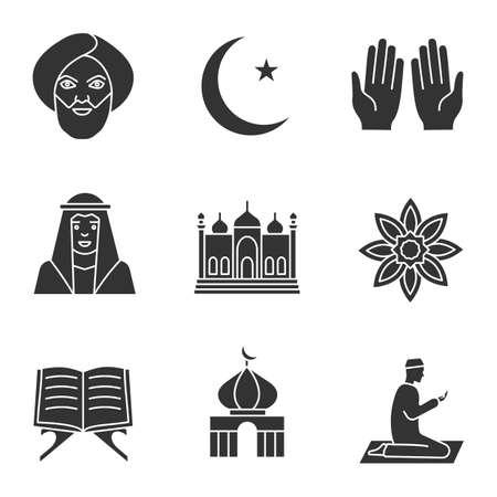 Islamic culture glyph icons set. Muslim man, ramadan moon, islamic prayer, mosque, quran book, muslim star. Silhouette symbols. Vector isolated illustration