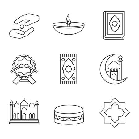 Islamic culture linear icons set. Zakat, oil lamp, quran book, daf, praying mat, mosque and crescent moon, islamic star. Thin line contour symbols. Isolated vector outline illustrations Illustration