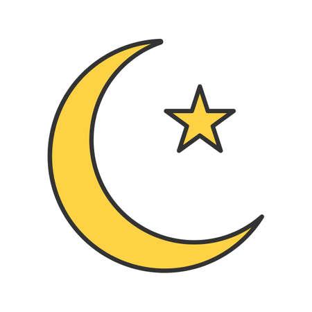 Star and crescent moon color icon. Ottoman flag. Ramadan moon. Isolated vector illustration