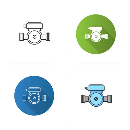 Water pump icon. Flat design, linear and color styles. Isolated vector illustrations