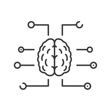 Neurotechnology linear icon. Thin line illustration.