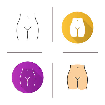 Bikini zone icon. Flat design, linear and color styles. Isolated vector illustrations Ilustração