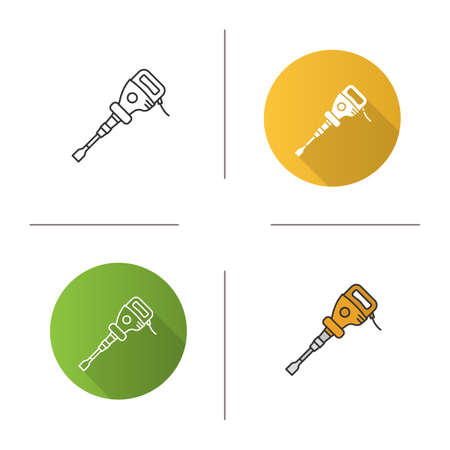 Paving breaker icon. Flat design, linear and color styles. Air hammer. Isolated vector illustrations