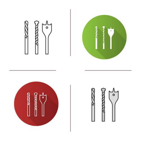 Icono de brocas. Diseño plano, estilos lineales y de color.