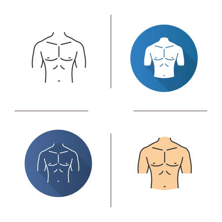 Muscular male chest icon. Flat design, linear and color styles. Isolated vector illustrations