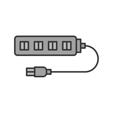 USB hub color icon. Multi plug. Isolated vector illustration