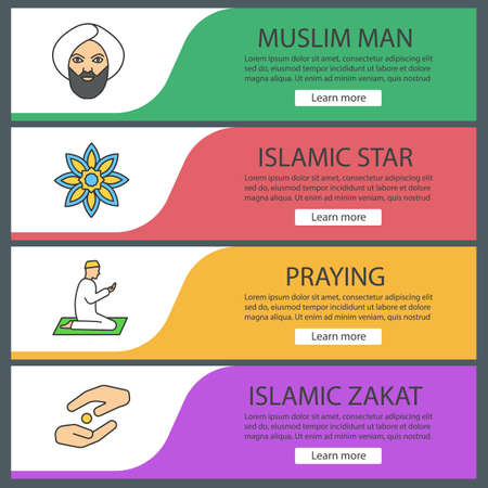 Islamic culture web banner templates set. Muslim man, islamic star, praying person, zakat. Website color menu items. Vector headers design concepts
