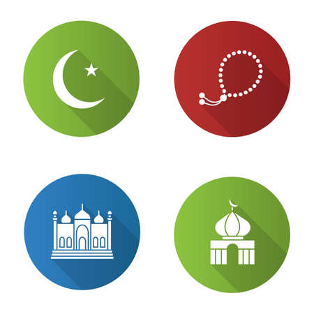 Islamic culture flat design with long shadow glyph icon. Vector silhouette illustration Ilustracja