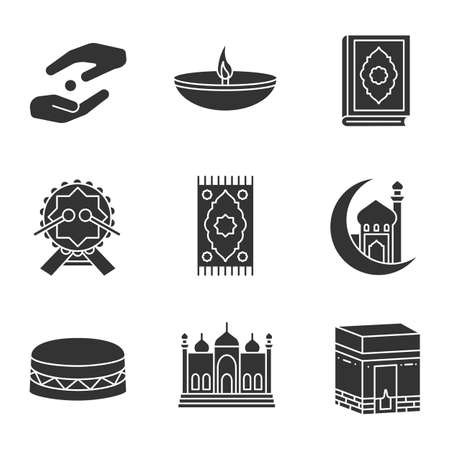 Islamic culture glyph icons set. Silhouette symbols. Vector isolated illustration