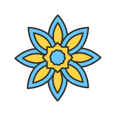 Islamic star color icon. Religious symbolism. Muslim art. Isolated vector illustration