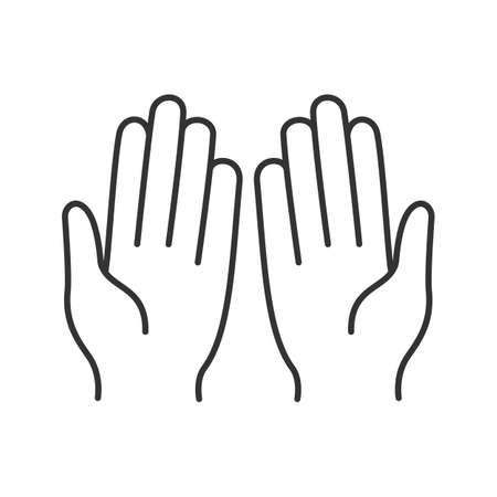 Muslim praying hands linear icon. Vector isolated outline drawing