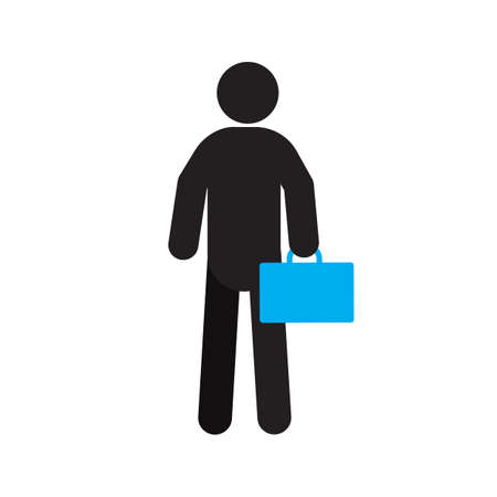 Man with briefcase silhouette icon. Isolated vector illustration