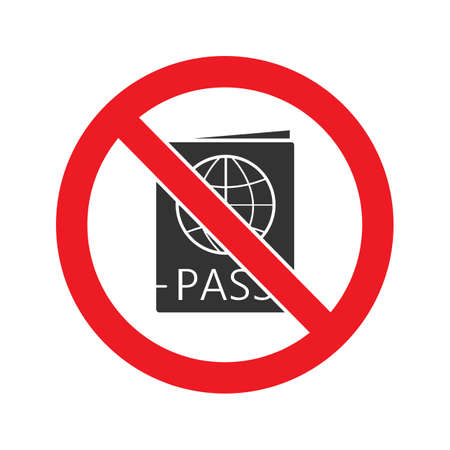 Forbidden sign with passport glyph icon. Stop silhouette symbol. Document in prohibition circle. Negative space. Vector isolated illustration