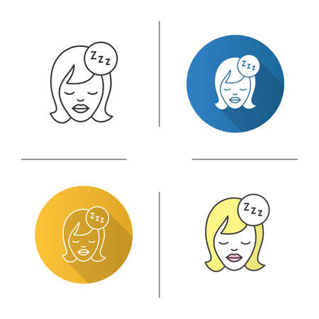 Sleeping woman icon. Flat design, linear and color styles. Woman face with closed eyes and zzz symbol.