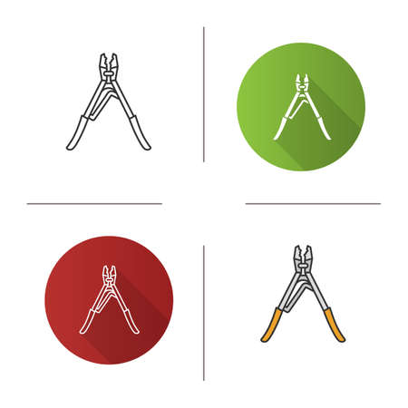 Crimping tool icon. Flat design, linear and color styles. Isolated vector illustrations 일러스트