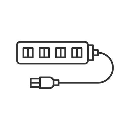USB hub linear icon. Thin line illustration. Multi plug. Contour symbol. Vector isolated outline drawing