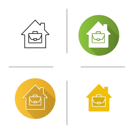 Home office icon. Flat design, linear and glyph color styles. Working at home. Remote job. Isolated vector illustrations