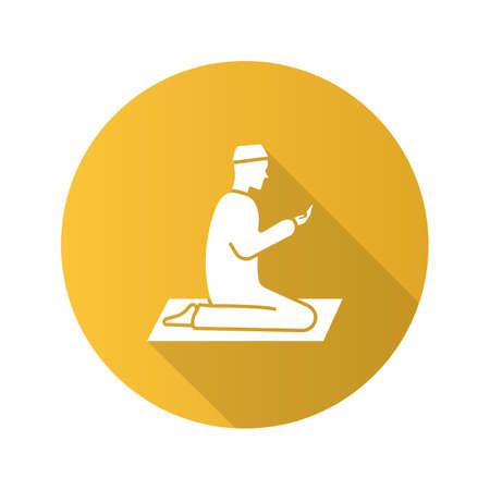 Praying muslim man flat design long shadow glyph icon. Worship. Islamic culture. Vector silhouette illustration
