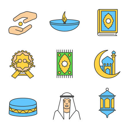 Islamic culture color icons set. Zakat, oil lamp, quran book, daf, praying mat, mosque and crescent moon, muslim man, lantern. Isolated vector illustrations