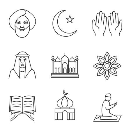 Islamic culture linear icons set. Muslim man, ramadan moon, islamic prayer, mosque, quran book, muslim star. Thin line contour symbols. Isolated vector outline illustrations Vettoriali