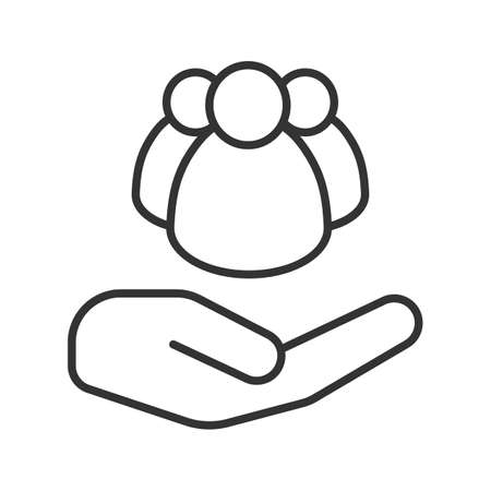 Open hand with group of people linear icon. Society care. Thin line illustration. Community. Contour symbol. Vector isolated outline drawing
