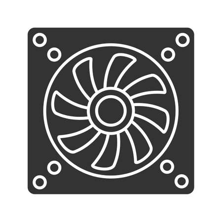 Exhaust fan glyph icon. Conditioning. Silhouette symbol. Air ventilation. Negative space. Vector isolated illustration Illustration