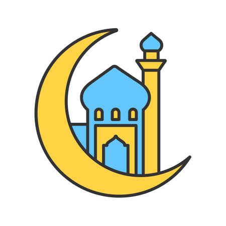 Mosque with Ramadan moon color icon