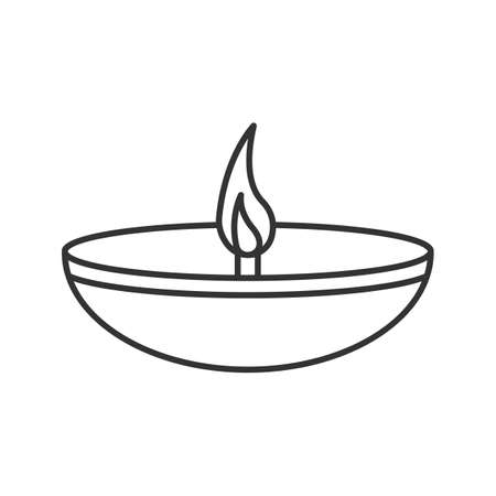 Islamic oil lamp linear icon