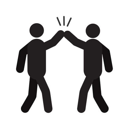 High five hand gesture silhouette icon Vectores