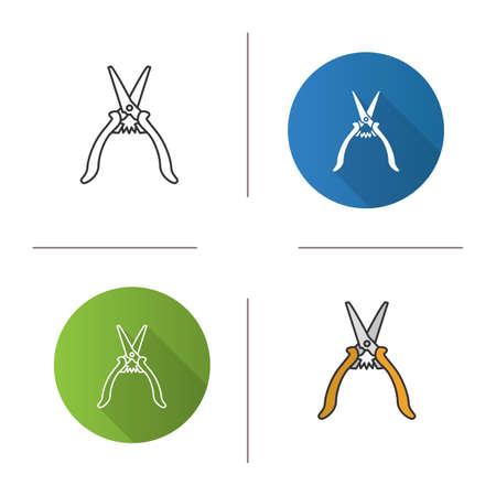 Construction scissors icon set