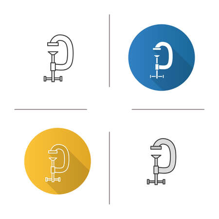 Screw clamp icon. Flat design, linear and color styles. G-clamp. Isolated vector illustrations.