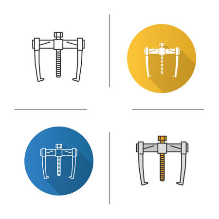 Bearing puller icon. Flat design, linear and color styles. Isolated vector illustrations. Vettoriali