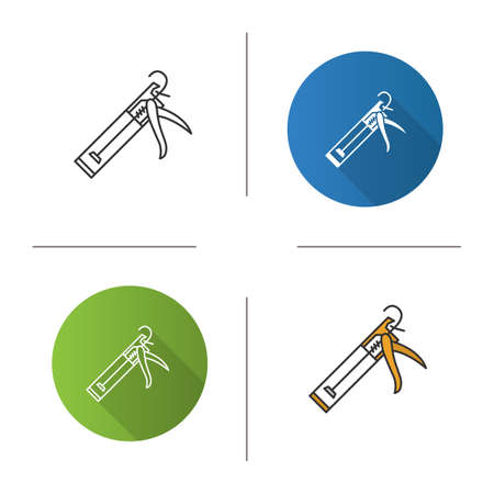 Caulking gun icon. Flat design, linear and color styles. Isolated vector illustrations.