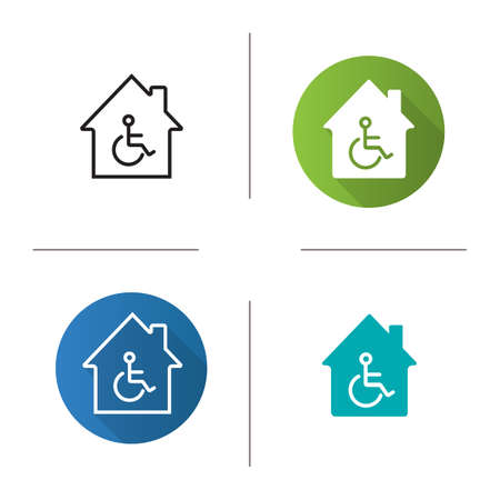 House with special facilities icon. Flat design, linear and glyph color styles. Handicap hospital. Isolated vector illustrations Ilustração