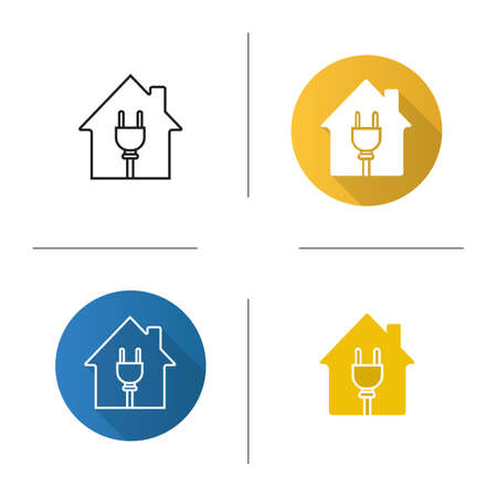 House with wire plug icon. Flat design, linear and glyph color styles. Home electrification Isolated vector illustrations