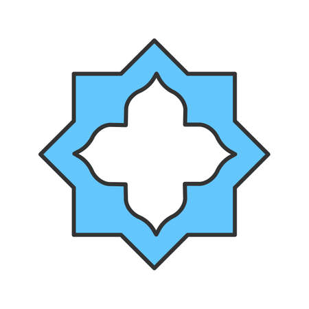 Islamic star color icon. Muslim art  Isolated vector illustration Illustration