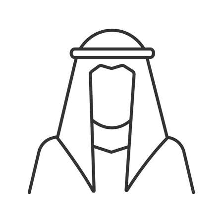 Sheikh silhouette linear icon. Muslim traditional clothes. Thin line illustration. Arab, turk. Islamic culture. Contour symbol. Vector isolated outline drawing Illustration