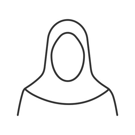 Muslim woman silhouette linear icon. Muslim traditional clothes. Thin line illustration. Islamic culture. Hijab. Contour symbol. Vector isolated outline drawing