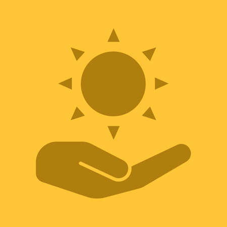 Open hand with sun glyph color icon Illustration