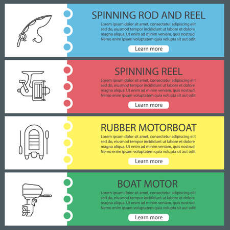 Fishing web banner templates set. Spinning rod and reel, motor boat. Website menu items. Vector headers design concepts