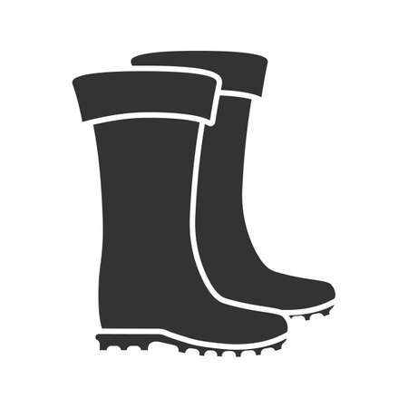 Rubber boot glyph icon. Waterproof shoes. Fishing equipment. Silhouette symbol. Negative space. Vector isolated illustration